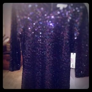 Navy sequins mid fitting dress